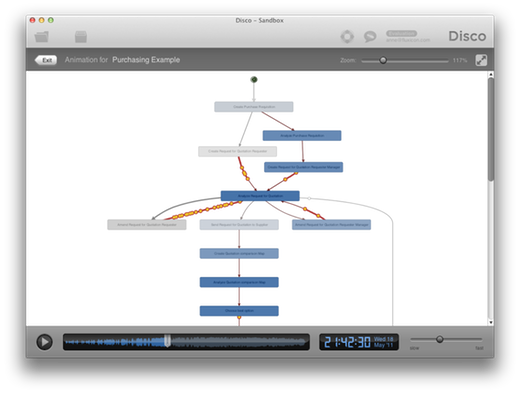 Animation brings your process to life by replaying the cases from your log in the process map