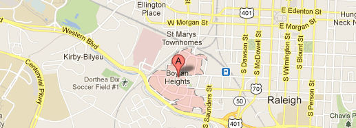 The Boylan Heights neighborhood in Raleigh, North Carolina - Click through to get to Google Map