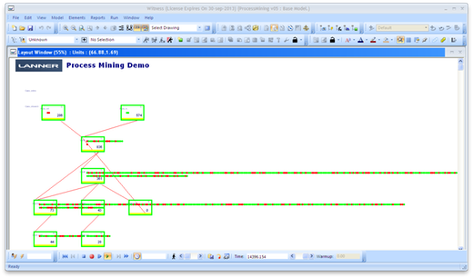 Running simulation in Witness (click to enlarge)