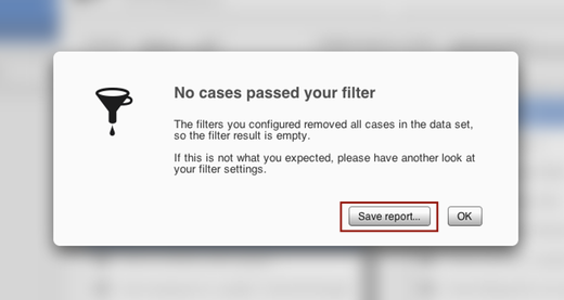 Audit report can be exported from the Empty Filter Result screen