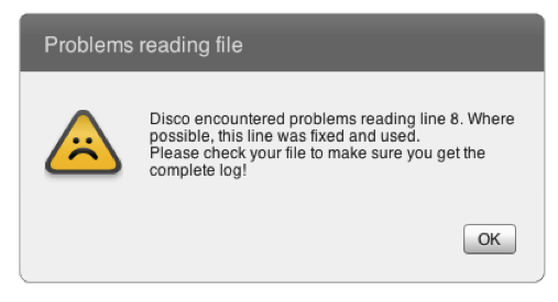 Process Mining Formatting Error - Import warning in Disco